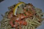 Shrimp Au Gratin over Linguine