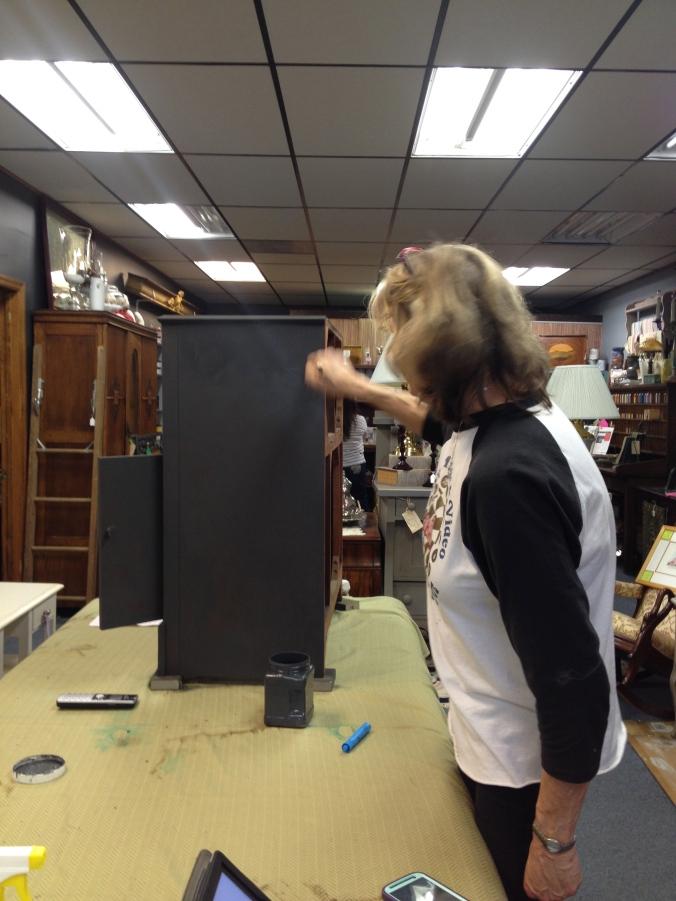 Terris working in her shop