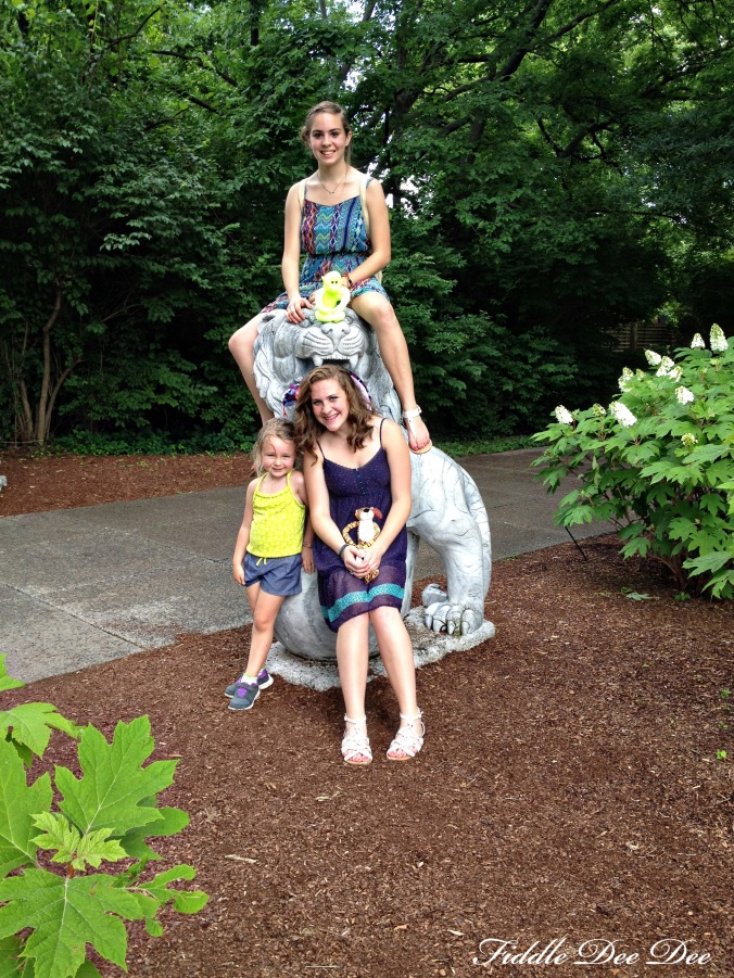 My girls with my little niece, Kynlee in one of the small decorative garden areas.