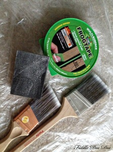 Purdy brushes, Frog Tape and a sanding block to aid in my project