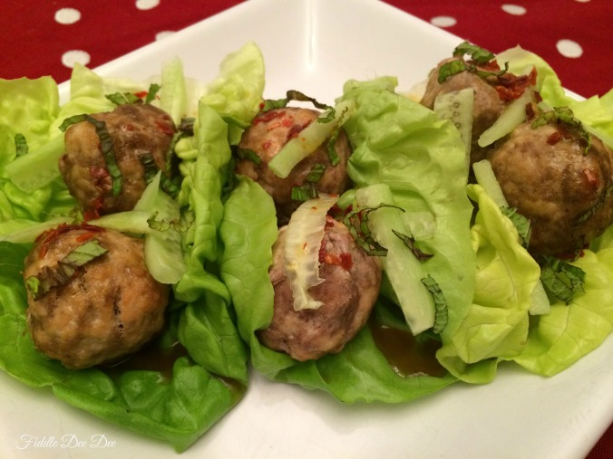 Asian Turkey Meatball Lettuce Wraps; perfect for a low carb yet fillng meal.