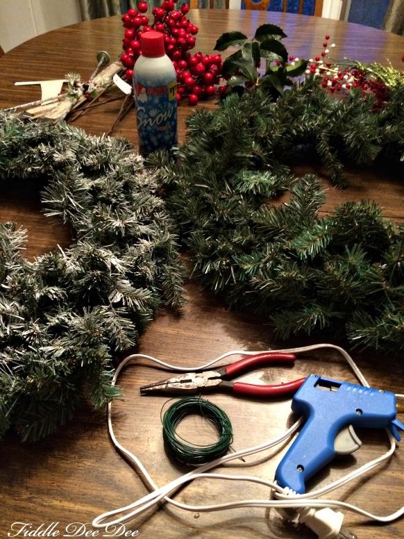 supplies for making a wreath