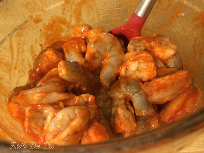 Use a glass bowl when marinating your shrimp