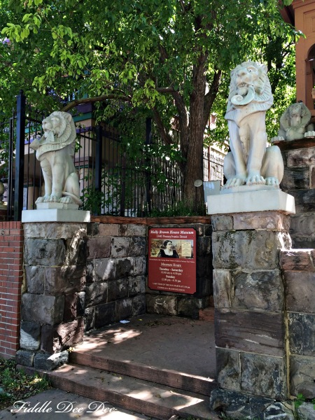 The lions at the entrance of the Molly Brown property