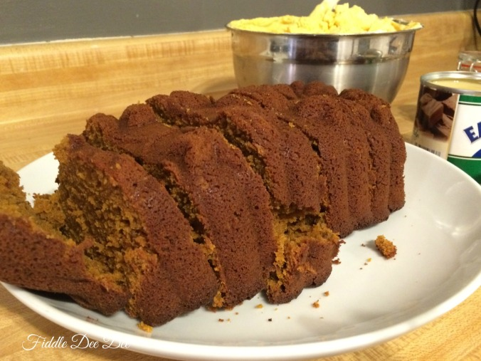 Scrumptious freshly baked pumpkin bread .... it's so difficult not to nibble while assembling all of these sweet goodies!