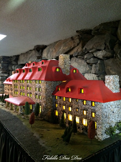 A model of the Grove Park Inn on display