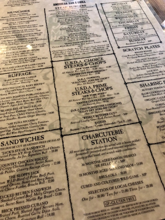 Uncle Jack's Meat House Menu