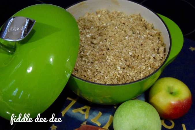 Deep Dish Apple Crisp in Lodge pan